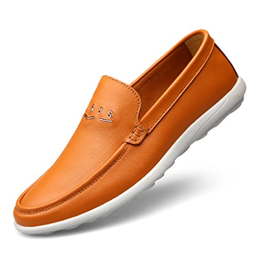 Minitoo Boys Mens Rubber Sole Slip-On Synthetic Penny Loafers Light Brown
