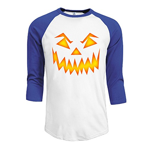 [^GinaR^ Men Middle Sleeve Pumpkin Face Halloween 1 Comfortable Bottoming Shirt S] (Pretty Little Liars Halloween Costume)