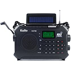 Kaito KA700 Bluetooth Emergency Hand Crank Dynamo & Solar Powered AM FM Weather NOAA Band Radio with Recorder and MP3 Player - Rugged Design for Hiking, Camping, Construction Sites, Etc. (Black)