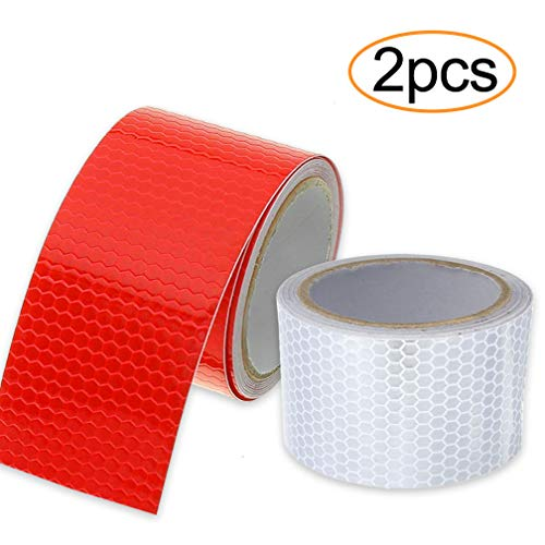 (Wanxida 2 Pack Red White Reflective Tape Waterproof Safety Tape Self-Adhesive Warning Caution Tape for Car, Trucks, Bicycles, Trailers - 2