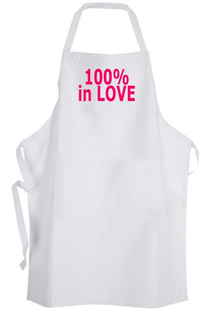 100% in Love – Adult Size Apron – Cute Wedding Marriage Valentine