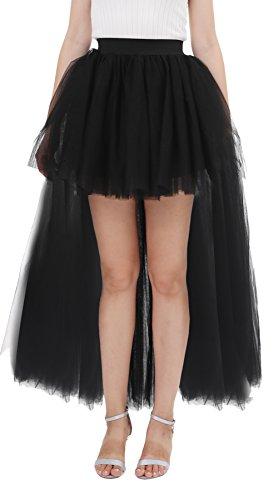 Poplarboy Women's Tulle Floor Length Hi - Lo Pettiskirt Adult A-line Special Occasion Wedding Skirt Petticoat underskirt Size S-M (Black Tulle Skirt Halloween)