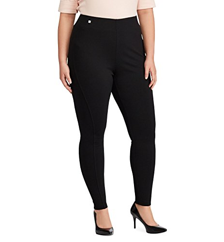Lauren Ralph Lauren Women's Plus Size Ponte-Knit Leggings Black 1X (Trousers Cropped Ralph Lauren)