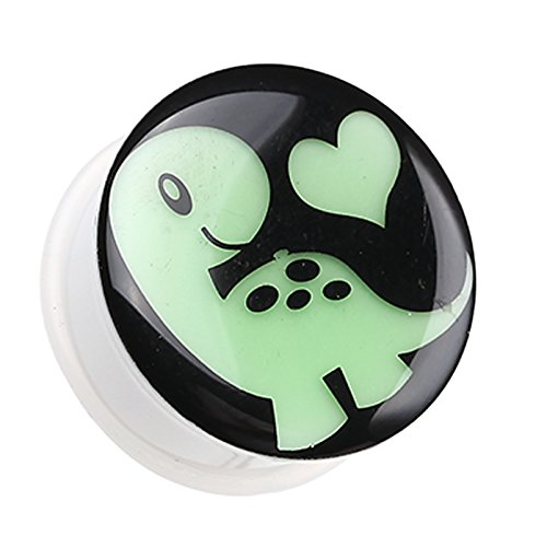 Glow in the Dark Adorable Dino Heart Single Flared Ear Gauge Plug - 2 GA (6.5mm) - Sold as a Pair