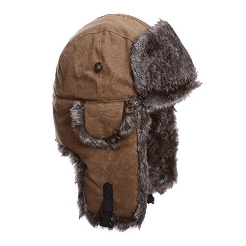 Mad Bomber Khaki Waxed Cotton w/Brown Wabbit Faux Fur Hunting Trapper Aviator Bomber Hat (Medium) (Trimmed Aviator)