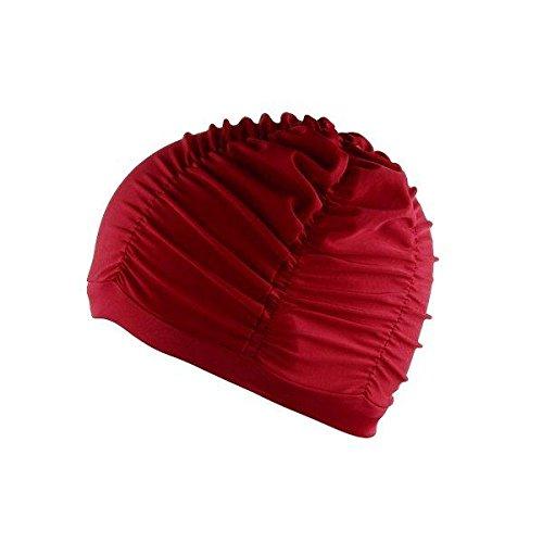 Adult Swim Cap - Bathing Hats Women - Woman Swimming Plicated Swimming Caps Bath Hats - Wine Red (Womens Swim Hat)
