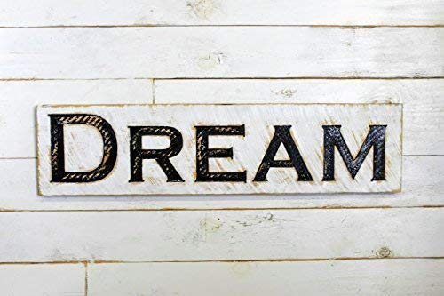 """Dream Sign - 40""""x10"""" Carved in a Wood Board Rustic Distressed Shop Advertisement Farmhouse Style Wooden"""