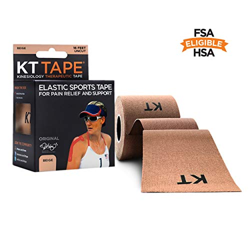 KT TAPE Original Cotton Elastic Kinesiology Therapeutic Sports Tape, 16 Ft Uncut Roll, Breathable, Free Videos, Pro & Olympic Choice, Beige