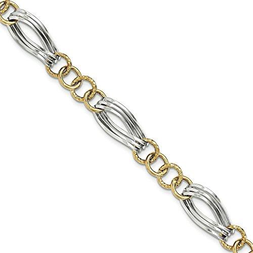 14 carats-Bicolore-Fancy-Link Bracelet JewelryWeb 7,5 cm