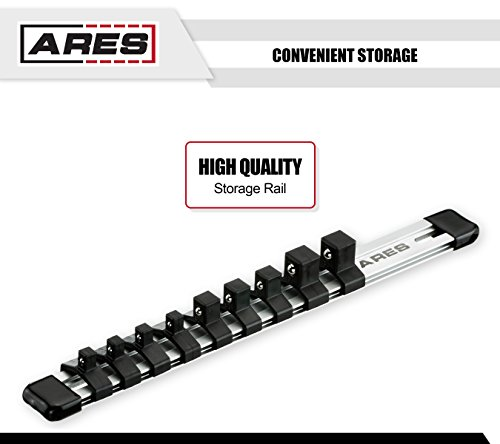 ARES 70612 | 9-Piece Impact Stubby Triple Square Bit Socket Set | Chrome-Moly Steel and Manganese Phosphate Coating Designed for Impact Use | Sizes Range from M4 to MT18 on a Reusable Storage Rail by ARES (Image #3)