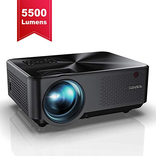 YABER Portable Projector with 5500 Lumen Upgrade Full HD 1080P 200 Display Supported LCD LED Home