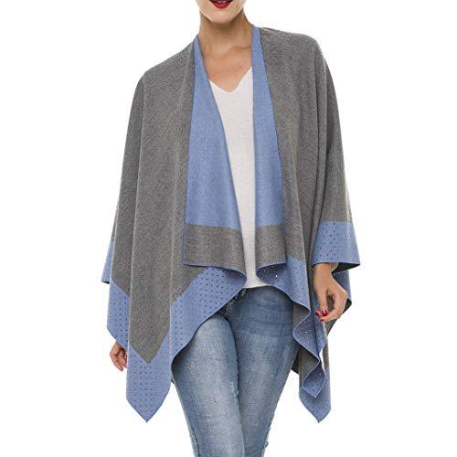 Cardigan Poncho Cape: Women Elegant Cardigan Shawl Wrap Sweater Coat for Winter (Gray Blue with Stone Stud)
