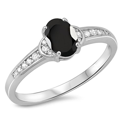 925 Sterling Silver Faceted Natural Genuine Black Onyx Oval Ring Size 6