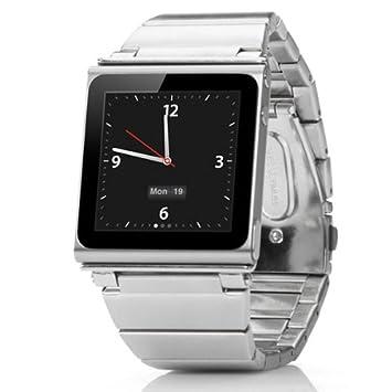 7ebf099b6d841 Alienwork Pod2Watch Armband für iPod nano 6 Watchband Uhr-Kits Edelstahl  silber AN609-01
