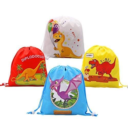 Dinosaur Drawstring Bags for Kids Birthday Dinosaur Themed Parties Supplies-12 Set