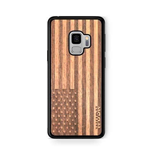 Mahogany Wood Case - Wooden Phone Case (American Flag in Mahogany) Compatible with Galaxy S 9, Samsung Galaxy S 9