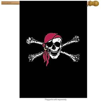 Briarwood Lane Red Bandana Summer House Flag Nautical Jolly Roger 28