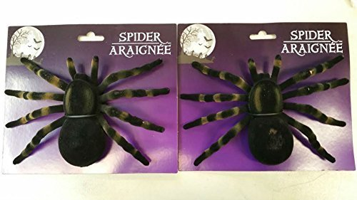Scary and Non Scary Halloween Decorations 2 Giant Black Flocked Plastic Spiders ()