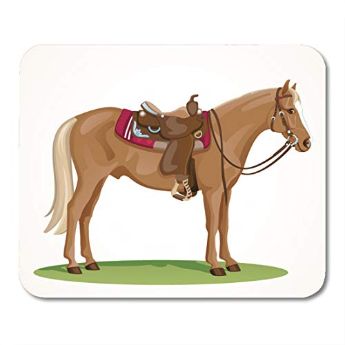 - Semtomn Mouse Pad Western Horse Saddle and Bridle Sorrel American Quarter Standing Mousepad 9.8