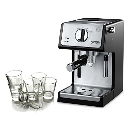 Delonghi Black 15 Bar Pump Combination Espresso and Cappuccino Machine with Free Set of 6 Italian Espresso Shot Glasses by DeLonghi