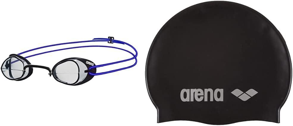 ARENA Swedix Gafas de Natación, Unisex Adulto, Transparente/Azul, Universal + Classic Gorro De Natación, Unisex Adulto, Negro (Black/Silver), Talla Única
