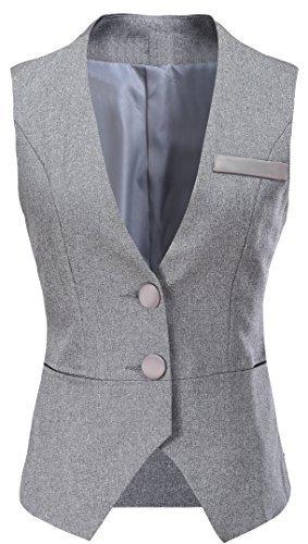Vocni Women V-Neck Business Slim Fit Skinny Button Down Suit Dressy Vests Waistcoat,Grey,US M (Fit Bust 35''-37.4''),Tag 3XL by Vocni