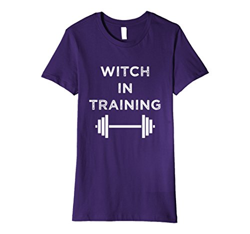 Womens Witch in Training Shirt, Halloween Funny Workout Humor Large (Halloween Work Humor)