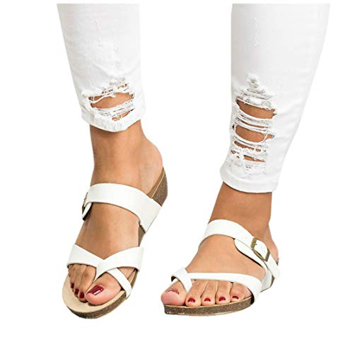 Womens Cross Toe Double Buckle Strap Summer Leather Flat Mayari Sandals ()