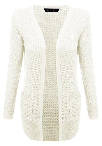 Waffle Open Sweater Knit Cardigan w/ Pockets (Below Hip Length) Ivory L Size