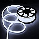 Flexible Cool White Illuminated LED Neon Rope Tube Light 50-foot 1200 Bulbs w/ Power Cord Connectors Holiday Home Bar Commercial Decorative Outdoor Lighting