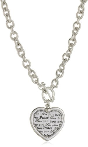 Heart Medallion Necklace (1928 Jewelry Silver-Tone Heart Peace Medallion Necklace)