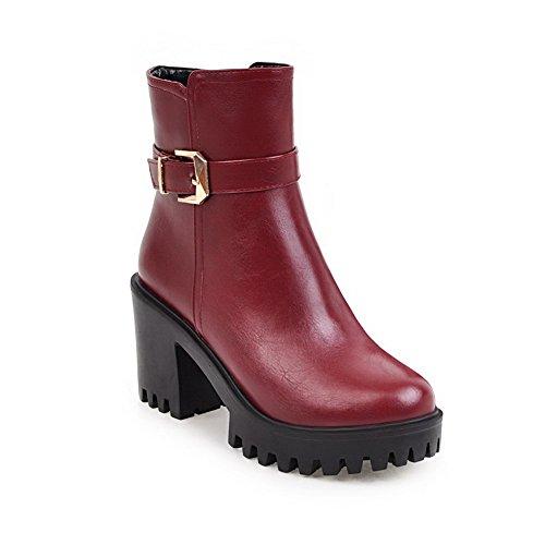 ABL10033 Boots Resistant Buckle Platform Red BalaMasa Womens Urethane Slip FqZZ7wv