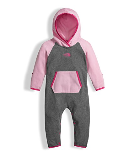 The North Face Infant Glacier Full Zip Hoodie Medium Grey Heather, Lilac Sachet Pink (6 Month) by The North Face