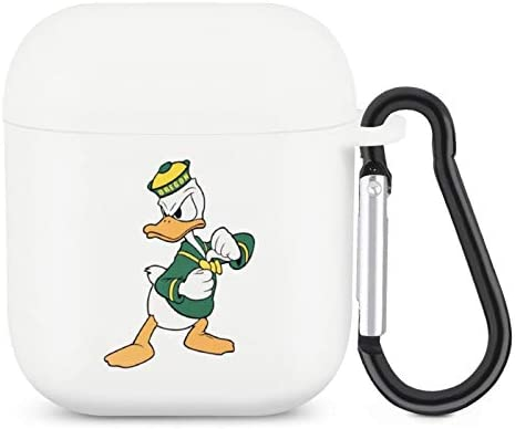 Oregon Ducks Airpods Case,Flexible Silicone Cover for Airpods 2&1,Portable and Compatible with AirPod Box(with Key Chain)