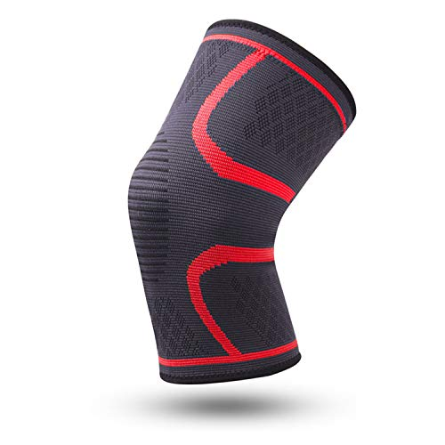 - MZjJPN 1pc Nylon Elastic Sports Knee Pads Breathable Knee Support Brace Running Fitness Hiking Cycling Knee Protector Joelheiras,Red,XXL