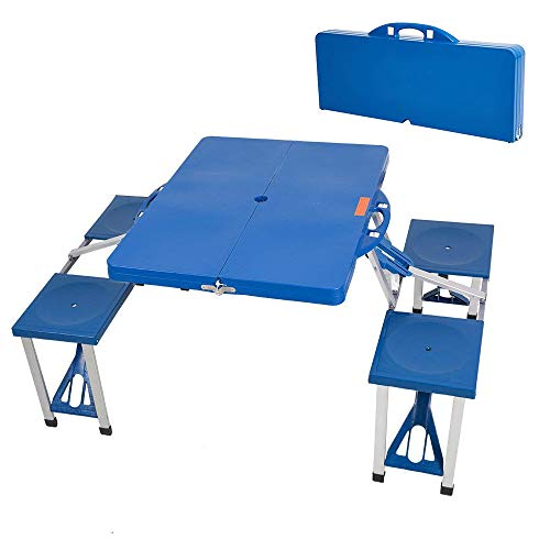 Dporticus Outsunny Portable Lightweight Folding Suitcase Picnic Table/Built-in 4 Chairs(Blue) (Chairs Built With Table In)