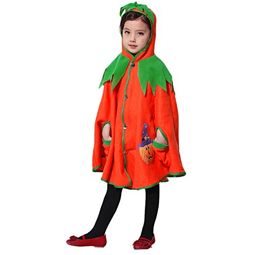 Halloween Pumpkin Hooded Cosplay Kids Clothes Cape Robe Girls Baby Cloak Coat Party -