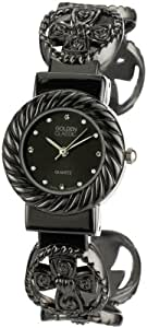 Golden Classic Women's 2233-black Faithfully Yours Cross Heart and Circle Bangle Watch