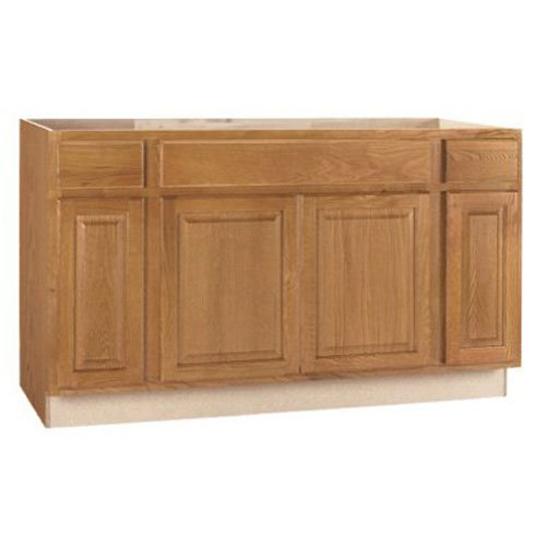 RSI HOME PRODUCTS SALES CBKSB60-MO Medium Oak Finish Assembled Sink Base Cabinet, 60