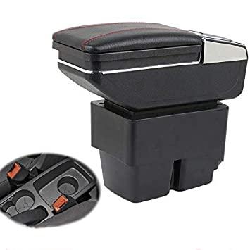 Car Armrest Center Console Storage Box For Fiesta 3 MK7 2009-2017 Car Interior Accessories (Black) SENYAZON