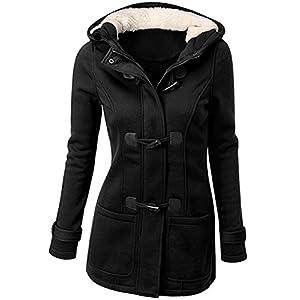 OLUOLIN Womens Wool Blended Pea Jacket Coat Casual Hooded Outwer