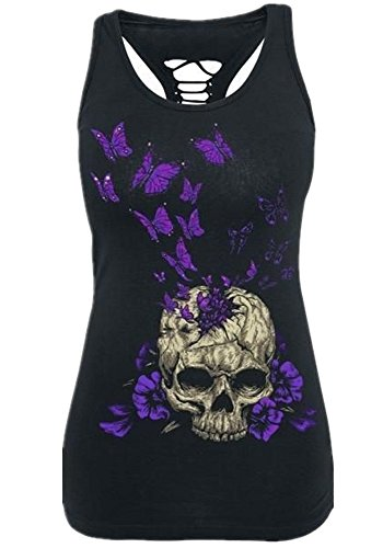 Pxmoda Womens SleeveLess Skull Print T-shirt Hollow Out Tank Top Plus Size (Purple Skeleton)