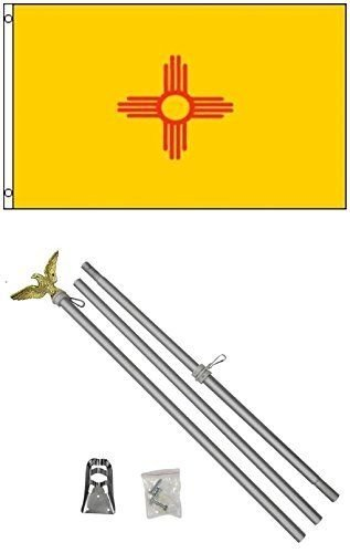 ALBATROS 3 ft x 5 ft State of New Mexico Flag Aluminum with Pole Kit Set for Home and Parades, Official Party, All Weather Indoors Outdoors