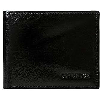 Goldedge Wallet for Men - Leather, Black