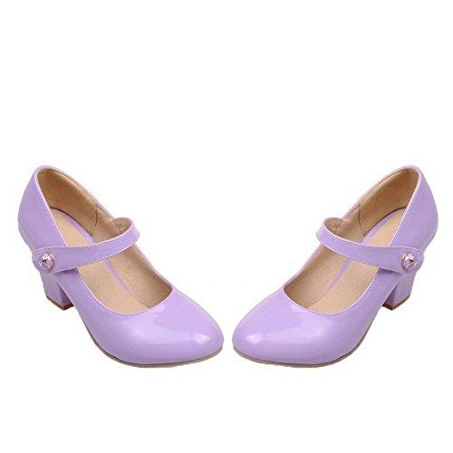 Redonda Charol Sólido De Tacón Mujeres Medio Zapatos Morado Puntera Agoolar tBPwvFWqx
