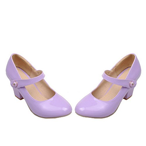 Tacón Mujeres Sólido Morado Agoolar Charol De Zapatos Puntera Medio Redonda P7PHU4