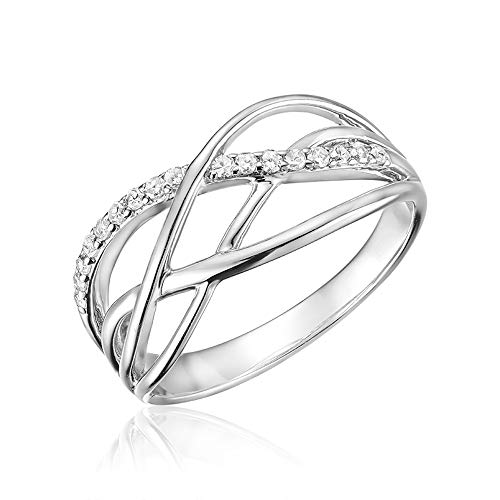 - Jewels By Erika R-LM08 10K Gold Diamond Swirl Ring (White-Gold, 8)