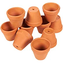 Set of 10 Terra Cotta Pots - Clay Flower Pots, Mini Flower Pot Planters for Indoor, Outdoor Plant, Succulent Display, Brown - 1.2 x 1.9 Inches