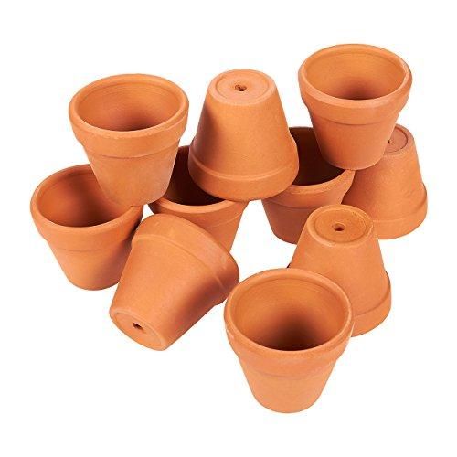 Mini Cotta Terra Pot (Set of 10 Terra Cotta Pots - Clay Flower Pots, Mini Flower Pot Planters for Indoor, Outdoor Plant, Succulent Display, Brown - 2.1 x 1.2 x 1.9 Inches)