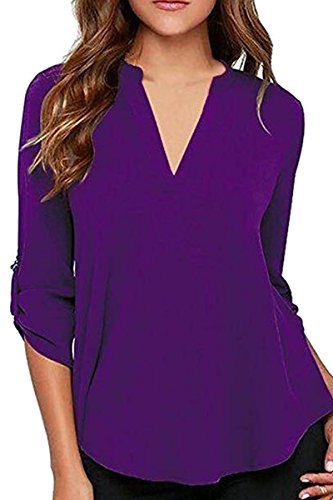 YMING Chiffon Blouse for Women Long Sleeve Shirt Deep V Neck Blouse Purple 2XL